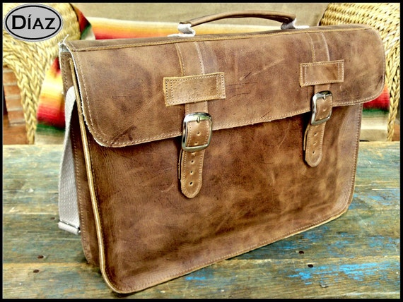 Large Leather Bag / Briefcase  in Texas Light Brown - (17in MacBook Air / Pro) - Free Monograming  -