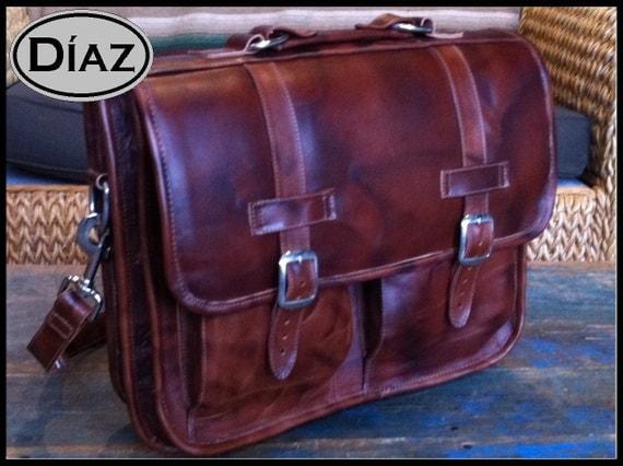DIAZ Large Geunine Leather Briefcase / Backpack Laptop Messenger Bag Satchel in Antique Light Brown - (17in MacBook Pro)