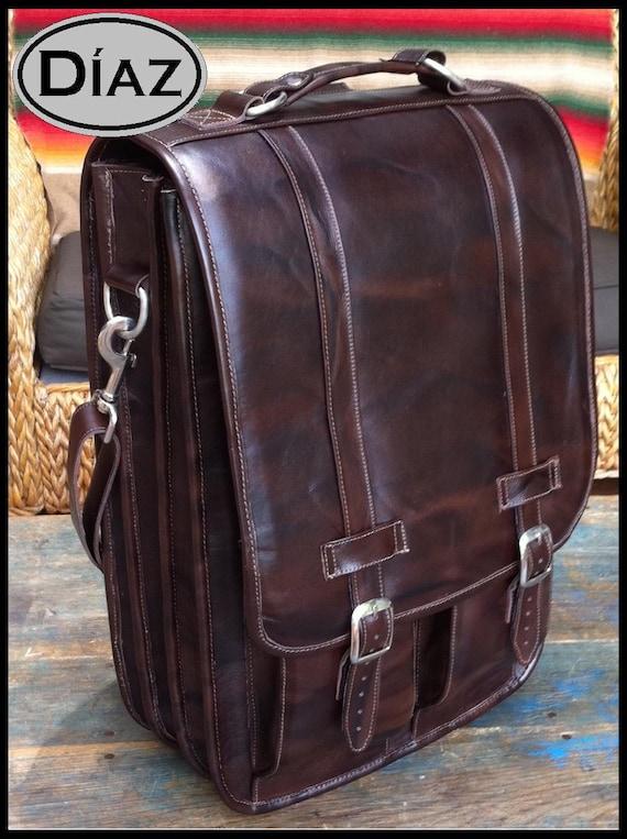 DIAZ Extra Large Geunine Leather Messenger Satchel / Backpack Laptop Bag in Antique Dark Brown