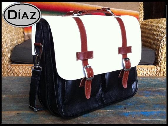 DIAZ Medium Geunine Leather Briefcase / Backpack Laptop Messenger  Bag Satchel in White / Brown / Black - (15in MacBook Pro) - Free Shipping