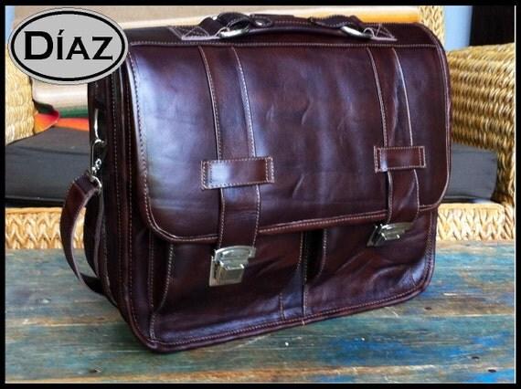 Large Leather Messenger Briefcase / Backpack Laptop Bag Antique Dark Brown - (17in MacBook Pro)