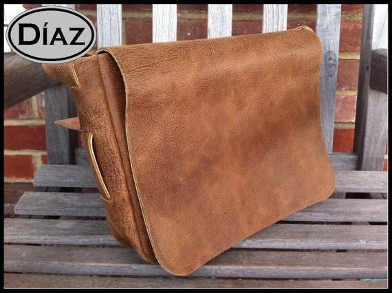 Large Genuine Leather Messenger Bag / Satchel in Texas Light Brown - Free Monogramming -