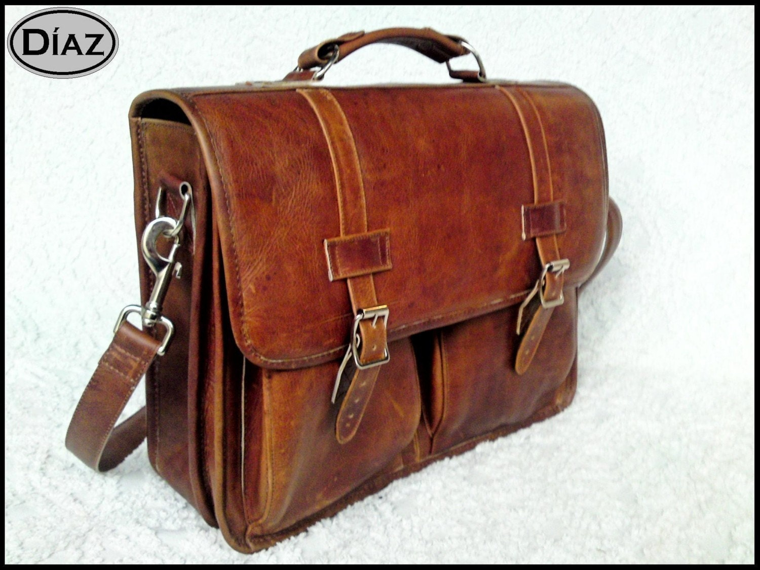 DIAZ Small Leather Messenger Briefcase / Backpack Laptop Bag