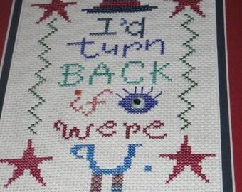 I'd Turn Back If I Were You Finished Cross Stitch