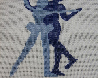 2 Ballet Silhouette Finished Cross Stitch