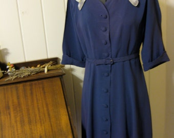 1940's Royal Blue Dress with Pale Blue Satin Neck Detail and Matching Belt