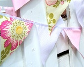 9 Feet Party Bunting, Spring Pink, Green, White Flower