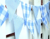 Party Banner, Bunting, Pennant Flags, Vintage Style Gingham Blue, Wedding Decorations, Baby Boy Shower, Nursery Decor
