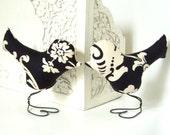 Bird Wedding Cake Topper, Black, Cream Floral Damask, Bridal Shower Cake Topper, Wedding Table Centerpiece , Anniversary Gift, Home Decor