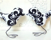 Wedding Cake Toppers Love Birds, Black and White Damask and Flower, Home Decor, Bridal Shower Decor, Baby Nursery Decor