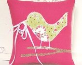 Love Bird Ring Bearer Pillow, Modern Bright Pink, Lime Green, Pink and White Flowered with Burlap Branch, Spring Wedding decorations