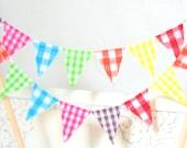 Birthday Cake Topper Banner, Safari Gingham Mini Cake Bunting, Yellow, Lime Green, Red, Pink, Orange, Aqua Blue, Brown, Vintage Circus