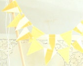 Cake Topper, Wedding Cake Bunting, Fabric Pennant Flags, Wedding Cake Topper, Bridal Shower, Baby Shower, Birthday Party Yellow, Stripe