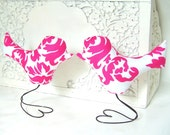 Wedding Cake Toppers Love Birds, Hot Pink and White Damask, Home Decor, Bridal Shower Decor, Baby Nursery Decor
