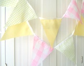 Banner, Bunting, 21 Fabric Flags, 9 Feet, Gingham, Pink, Yellow, Light Green, Birthday Party, Baby Shower, Baby Nursery Decor, Photo Prop