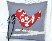 Love Bird Ring Bearer Pillow, Modern Red and Cream Flowers on Grey Pillow, Burlap Branch, Spring Wedding, Autumn Wedding