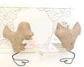 Custom Brown Burlap Love Birds Wedding Cake Toppers with Lace Flower and Veil, Love Fabric Banner, Bow Tie, Personalize with Wedding Colors