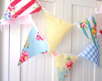 Shabby Chic Banner, Bunting, Pennant Fabric Flags, Decor Flower, Vintage Gingham, Pink, Yellow, Blue, Baby Nursery Decor, Newborn Photo Prop
