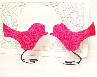 Wedding Cake Topper Love Birds in Bright Pink and Dark Pink-Red, Summer Wedding Decor, Wedding Gift, Baby Girl Nursery
