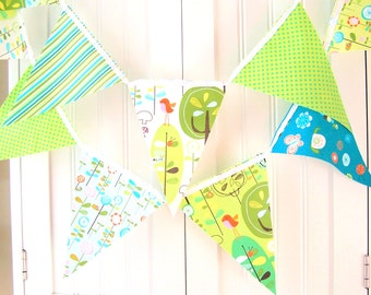 Baby Shower Banner, Bunting, Garland Fabric Pennant Flags, Aqua Blue, Lime Green Bird, Happy Stripes, Polka Dots, Birthday Party, Nursery