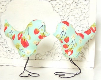 Mint, Coral Strawberry Love Bird Wedding Cake Toppers, Girl Baby Nursery, Baby Shower Cake Topper, Home Decor, Anniversary Gift, Wedding