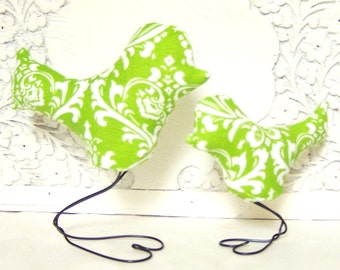 Mama and Baby Bird in Chartreuse Lime Green and White Damask, Baby Nursery and Baby Shower Cake Toppers, New Baby Gift