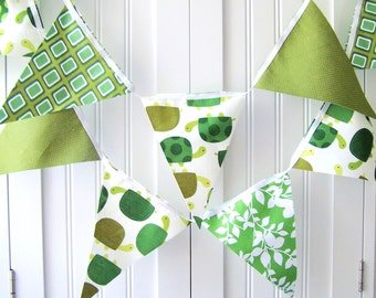 Banner Bunting, Fabric Pennant Flags, Boy Baby Shower, Turtle Birthday Party, Animal Baby Boy Nursery Decor, Photo Shoot Prop, Green,