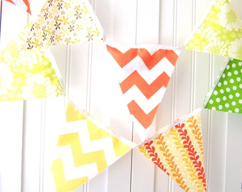Fabric Banner, Bunting Pennant Flags, Bridal Shower Birthday Party, Wedding, Orange, Yellow, Lime, Chevron, Polka Dot, Floral, Nursery Decor