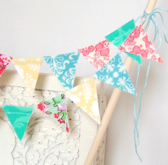 Mini Birthday Party, Wedding, Cake Bunting, Banner, Flags, Yellow, Pink, Aqua and Jade Summer, Amy Butler Paisley, Spring Wedding