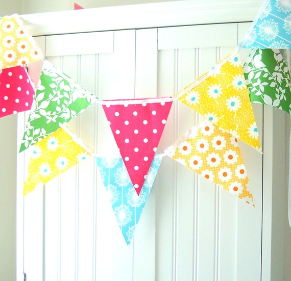 Girls Birthday Party Banner, Garland Party Banner Bunting, Yellow, Aqua Flowers, Bright  Pink Poka dot, Green Leaf, Orange, Baby Nursery