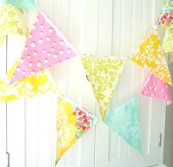 Bunting, Banner, 21 Fabric Flags, 9 Feet, Yellow Leaf, Pastel Pink Flower, Light Green, Turquoise, Birthday, Wedding Party Decor, Baby Girl