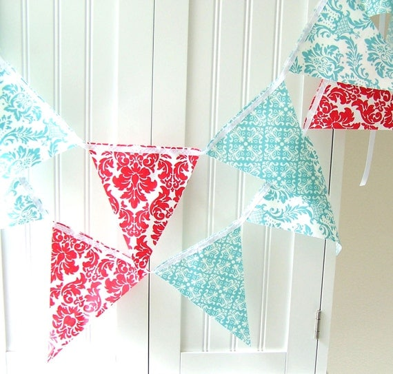 Reserved for gingerpino, Party Banner, Bunting, Modern Red and Tiffany Blue Damask, 9 Feet, Spring Wedding, Birthday Patry