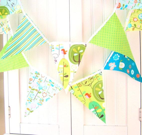 Baby Shower Banner, Bunting, Garland Fabric Pennant Flags, Aqua Blue, Lime Green Bird, Happy Stripes, Polka Dots, Birthday Party, Nursery