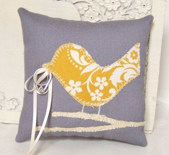 Items similar to Love Bird Ring Bearer Pillow, Grey, Modern Mustard Yellow Flowers, Cream Burlap ...