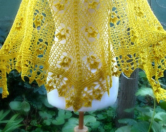 Direct Download PDF pattern crochet shawl Flores de invierno