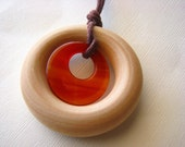 Stone in Wood - Wooden Teething and Nursing Necklace with 30mm Carnelian Agogo Pendant