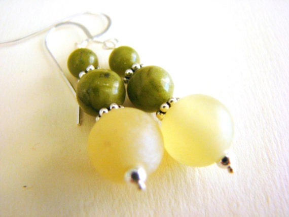 Luck and Harmony Earrings - Jade and Serpentine