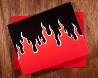 Handmade Letterpress Flames Card