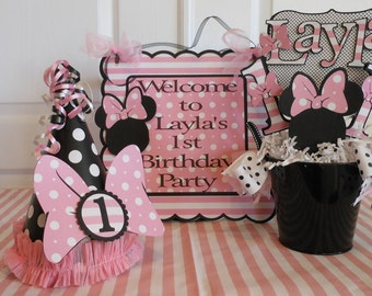 Minnie Mouse Polka Dot-1st Birthday Party Package