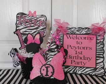 Minnie Mouse  Zebra  Birthday decorations - ultimate