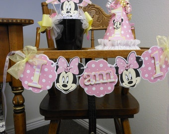 Minnie Mouse Pink and Yellow 1st Birthday Sweet Celebration Package