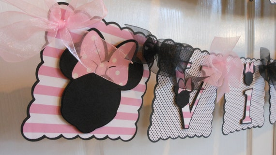 Minnie Mouse Birthday and Name Banner