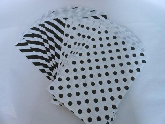 Party Favor bags- Black Stripes and Polka Dots- 1 Dozen