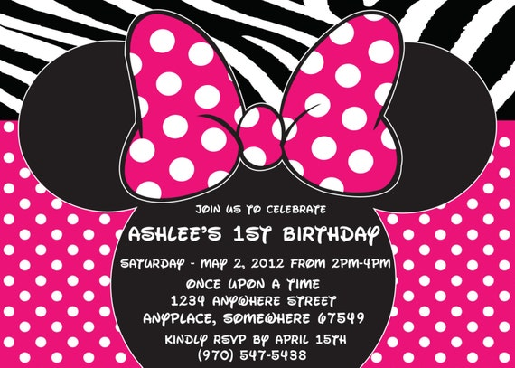 Minnie Mouse Printed Invitations With Envelopes-Hot Pink Minnie Mouse-Polka Dot-15