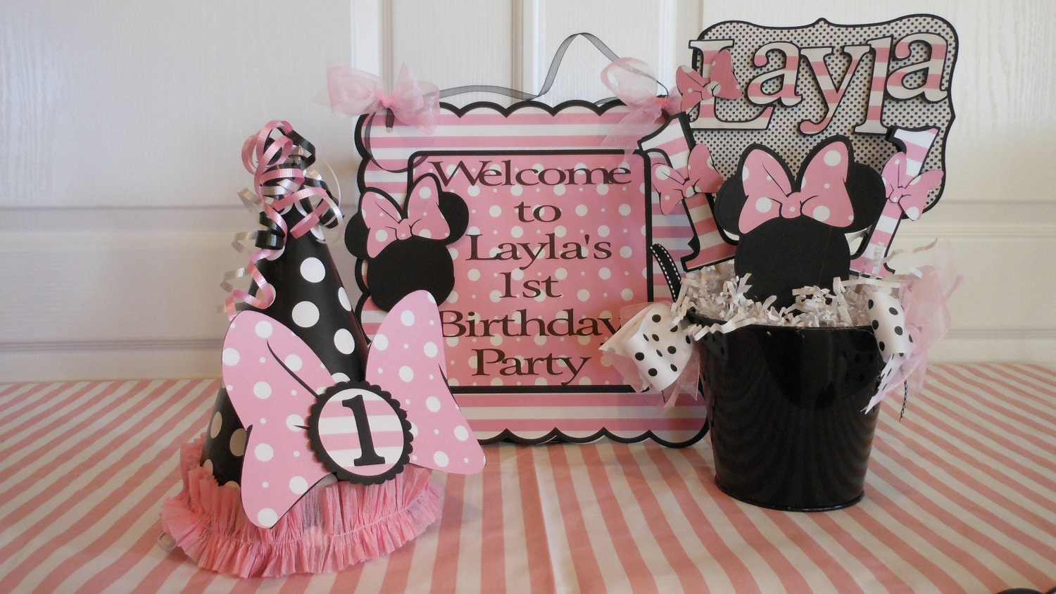 Minnie mouse polka dot 1st birthday party by asweetcelebration for 1st birthday decoration packages