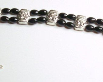 Bracelet Black Agate Silver Double Strand Handmade Bracelet