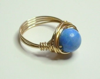 Blue Magnesite Gemstone Gold Handmade Wire Wrapped Ring Sizes 1-14