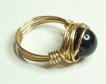 Black Pearl Gold Handmade Wrapped Ring Sizes 1-14