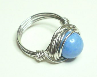 Blue Magnesite and Silver Plate Wire Wrapped Ring