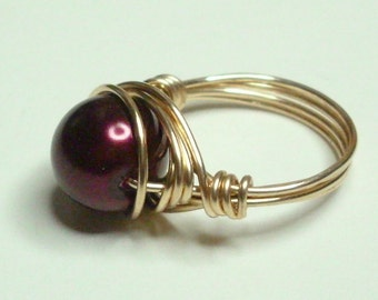 Burgandy and Gold Wire Wrapped Ring Sizes 1-14